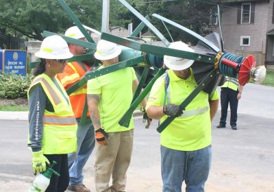 Inspecting 60-inch Water Main at Grinstead Dr