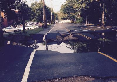 Water Main Break at Grinstead Drive Stabilized