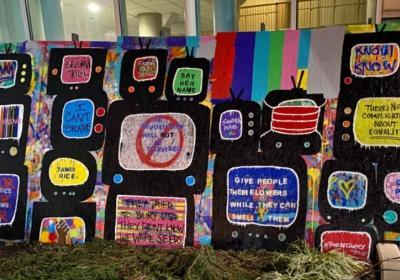 Art displayed outside corporate office auctioned in community showcase
